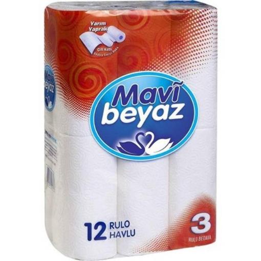 MAVI BEYAZ CIFT KATLI HAVLU 12 LI EKO resmi