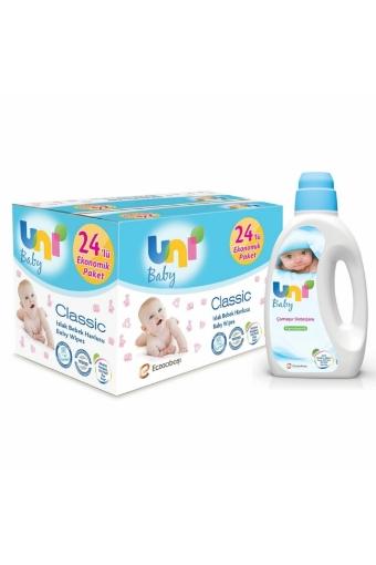 UNI BABY DETERJAN 1500 ML+CLASSIC ISLAK MENDIL 56 resmi